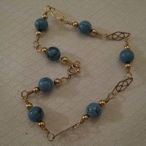14K Gold Filled Turquoise Beaded Bracelet Vintage